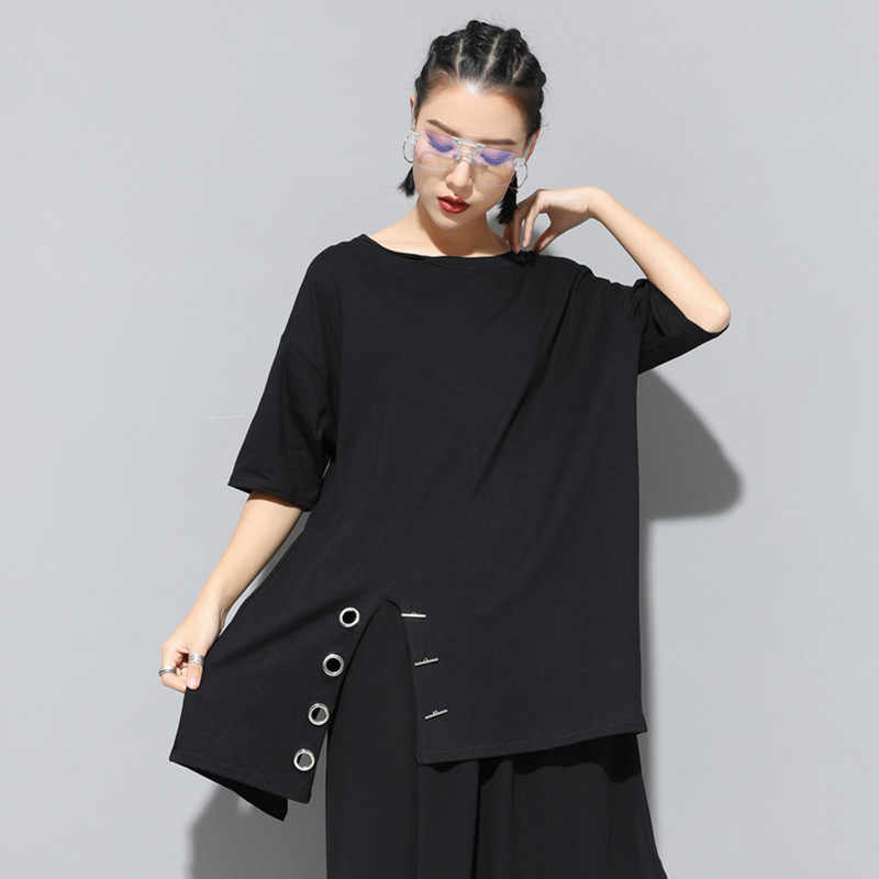 Max LuLu 2019 Merek Fashion Korea Wanita Punk Tops Tee Wanita Musim Panas Seksi Gothic T Kemeja Kasual Wanita Kapas Blok Warna plus Ukuran