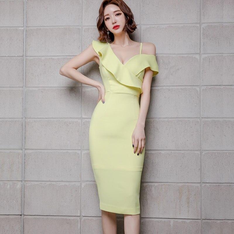 Mujeres verano nuevo desgaste temperamento coreano solido con cuello en V sexy un hombro paquete cadera natural sexy poliéster rodilla-leng vestido - 3