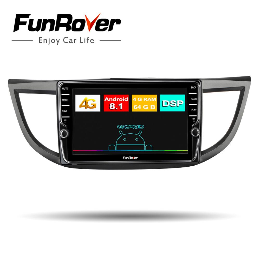 Funrover Octa core Android8 1 2din Car Radio Multimedia dvd gps player for Honda CRV CR