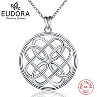 EUDORA good Lucky Irish Round Knot Heart 100% 925 Sterling Silver Pendant Chain Necklace choker Jewelry Anniversary Gift CYD102