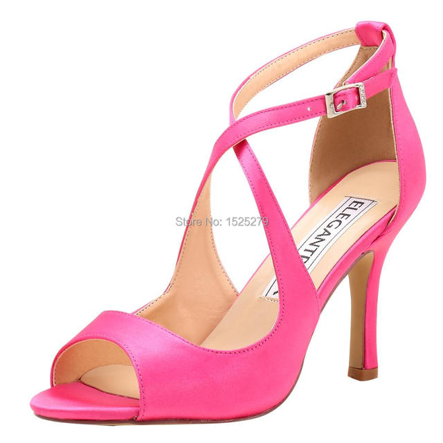 HP1820 Women Sandals High Heel Strap Prom Dress Evening Shoes Satin  Bridesmaid Ladies Wedding Bridal Shoes Black Hot Pink Ivory 04429c30754a