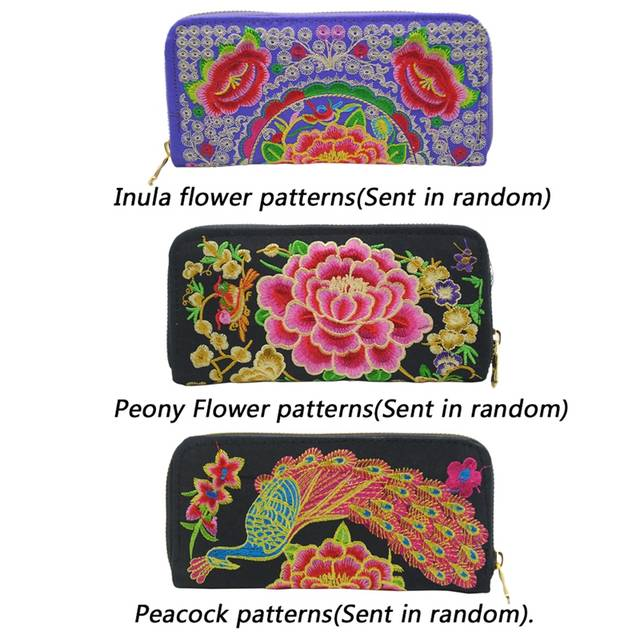 56a37f31139c New Women Wallets Clutch Ethnic Flowers Embroidery Handmade Wallets Female  Purse Lady Purses Phone Pocket Girls Card Holder #2