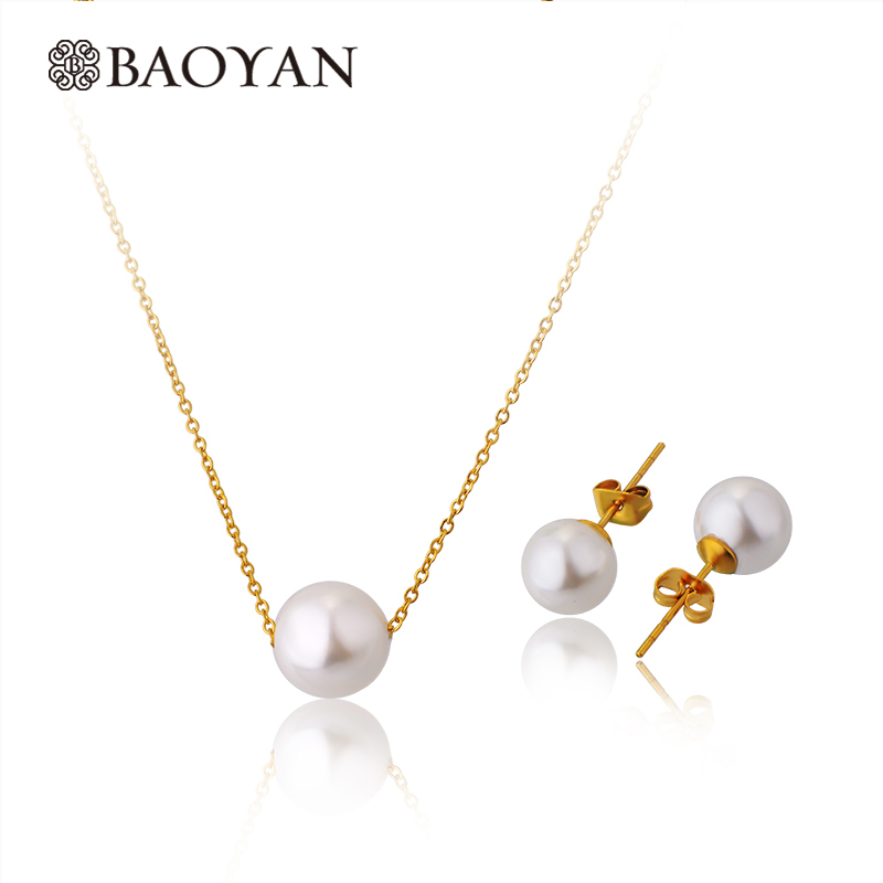 Baoyan Minimalism Imitation Pearl Necklace Earrings Sets Gold Plated Stainless Steel Pearl Wedding Bridal Jewelry Sets For Women