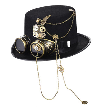 Gothic Unisex Skull Wings Goggles Top Hat Vintage Steampunk Gear Chains Party Black Hat Punk Gothic Hats Accessories