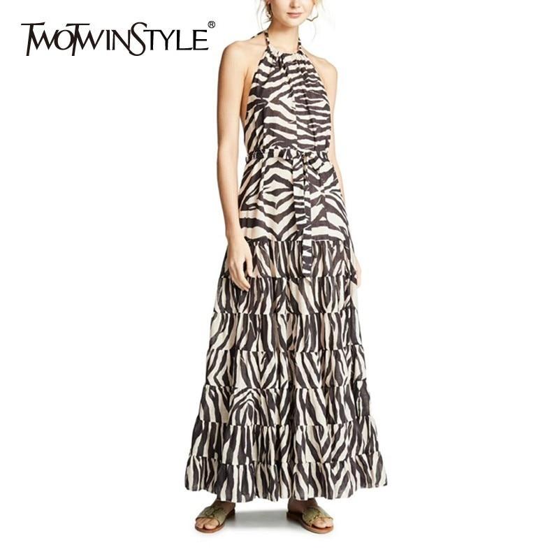 TWOTWINSTYLE print Off Shoulder Women Dress Halter Sleeveless Hit Color High Waist Bandages Long Dresses Female