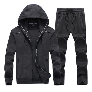 2019 NEW Fashion Spring Autumn Men Sporting Suit Set Hooded Jacket+Pant Sportswear 2 Piece Tracksuit For Clothes L-9XL