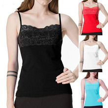 купить Sexy Women Lace Tank Top Basic Camisole Adjustable Spaghetti Strap Tunic по цене 333.95 рублей