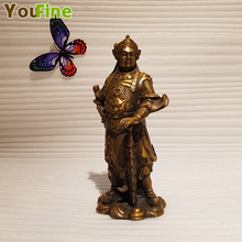 Chinese style bronze ancient figure sculpture Buddha Wu Caishen indoor home office place art decoration