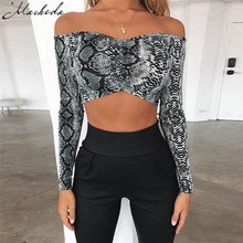 Sexy Sexy Snake Skin Printing Crop Top 2018 Autumn Off Shoulder Green Women Long Sleeve Elegant Short Tank Crop Tops Bustie