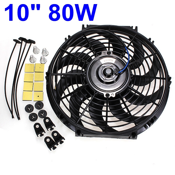 1set Universal 10inch 12V 80W Car Auto Slim Reversible Electric Radiator Cooling Fan Push Pull Engine Fan with Mounting Kits