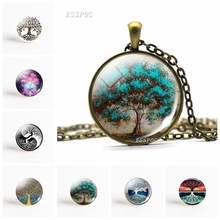 Fashion Life Tree Pendant Necklace Vintage Bronze Chain Necklace In Jewelry Classic Glass Cabochon Necklace Gift For Women Men cute unicorn vintage necklace antique bronze chain glass cabochon pendant necklace for women retro handmade jewelry party gift