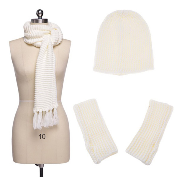 Warm Woolen Scarf Glove Hat Beanie Set Solid Color 3 Piece Winter Set For Women New