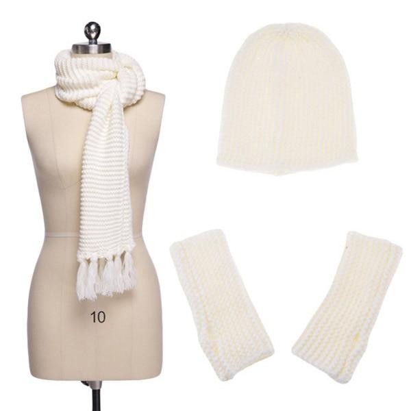Warm Woolen Scarf Glove Hat Beanie Set Solid Color 3 Piece Winter Set For Women New