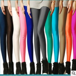 Women Clothes 2019 Solid Milk Silk Black Thin Clothing Workout   Leggings   Mid Ankle-Length fitness   Legging   Pants Yellow Pink Pants