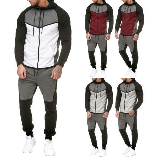 Men Gym Sport TrackSuit Hoodie Jacket Sweater Suit Set Trousers Pants Jogging US