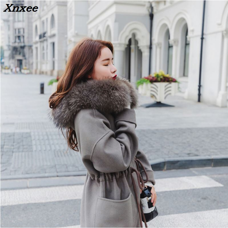 Autumn Size Gray Hooded Trench Women Loose Coat Woolen Female Winter Sleeve Long Double Coats Outerwear Plus With Xnxee Overcoat 88qU7a