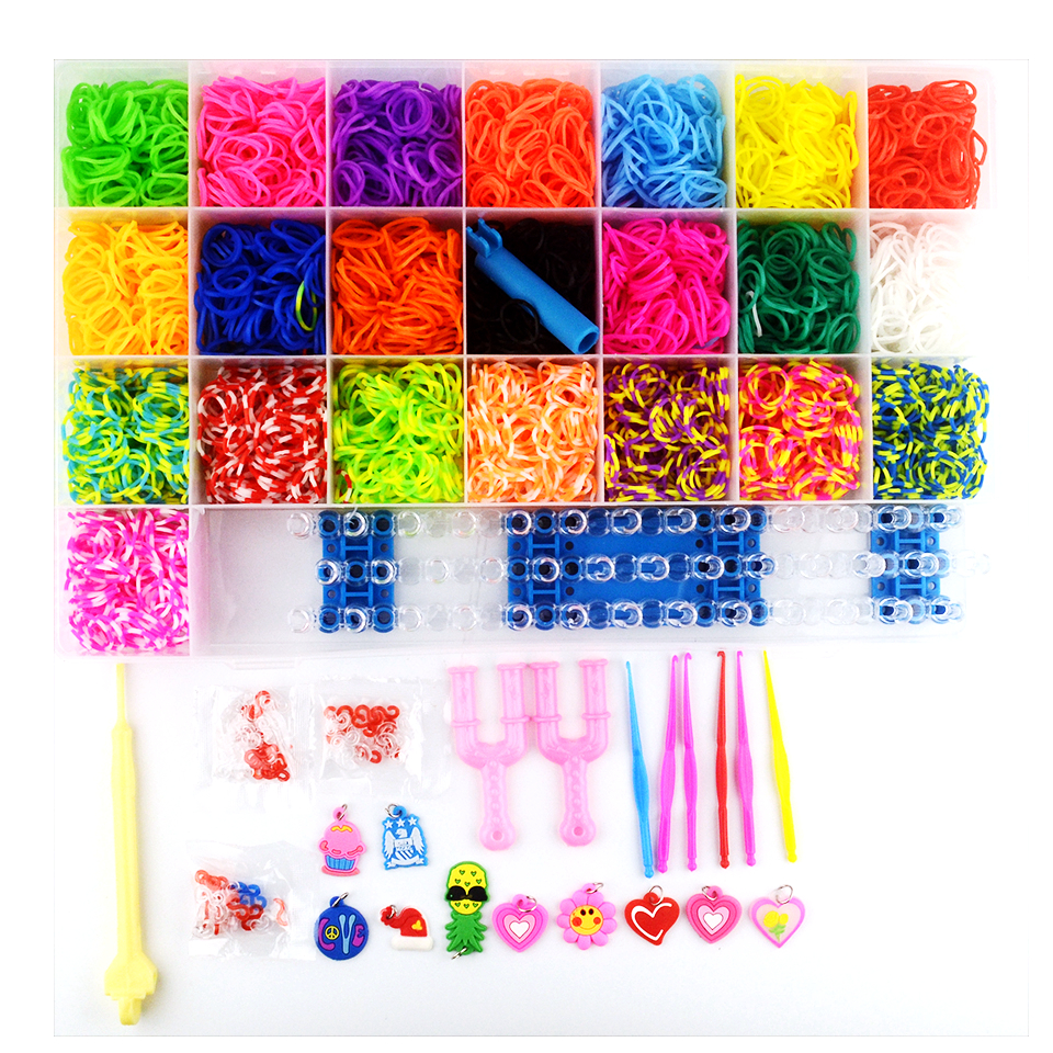 4400  Colorful Loom Bracelet Bands Kits Craft Toys With Weaving Machine Rubber Band Ribbon Knitted Figures Toys For Girl