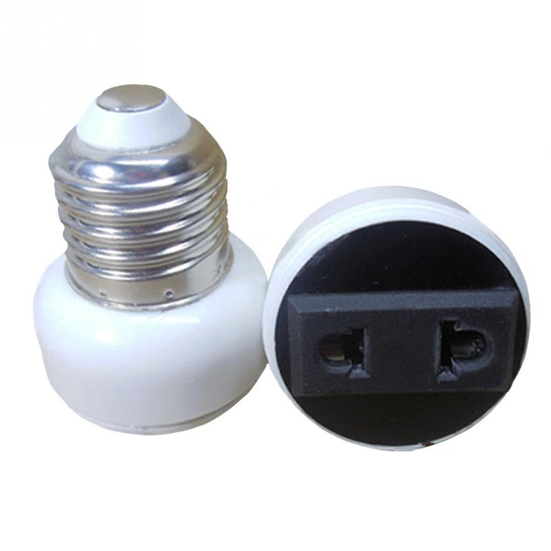 E27 Bulb Holder Adapter Connector Accessories White ABS Lamp Socket Convert E27 Base To Power Socket 2-pin US/EU Plug