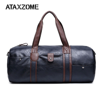 ATAXZOME new men's leather travel bag large capacity waterproof fitness bag cylindrical two color microfiber leather duffle bag