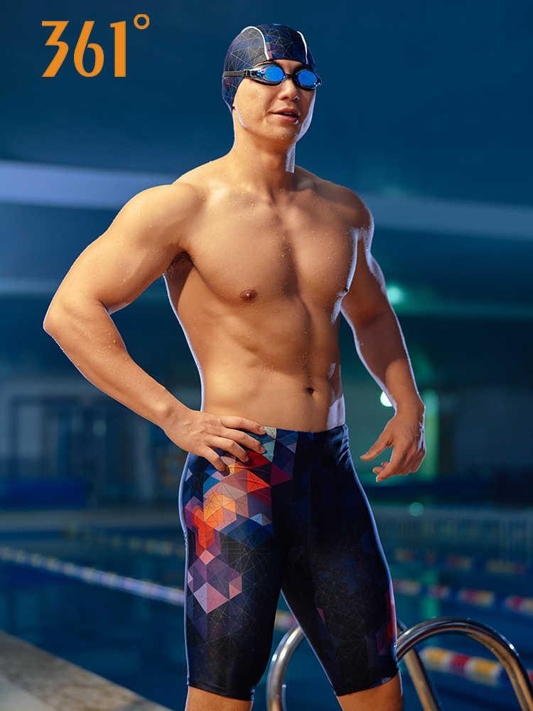 361 Men's Professional Sports Swimming Trunks Quick Dry Pool Swim Shorts Elastic Competition Swimwear Pants Chlorine Resistant