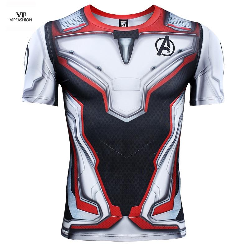 VIP FASHION Avengers Endgame Quantum Realm 3D Printed T shirts Compression Shirt Iron Man Cosplay Costume Short Sleeve Top