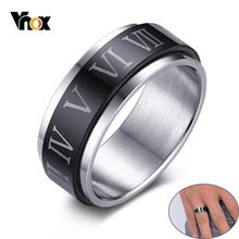 Vnox Vintage Mens Spinner Rings Engraved ⅠⅡ Ⅲ Ⅳ Ⅴ Ⅵ Ⅶ Roman Numerals Stainless Steel Male Accessory(China)