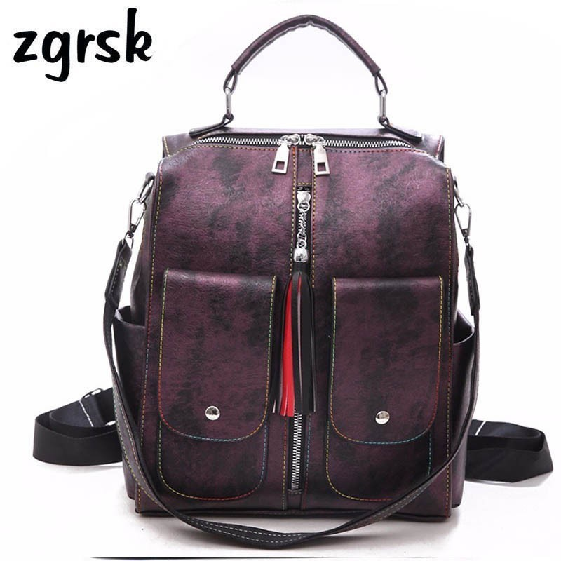 Soft Leather College Backpack Woman Fashion Female Backpack Bag Large Capacity School Bag Tassel Mochila Feminina Women Rucksack