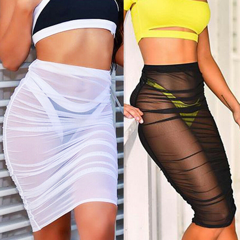 Summer New Women Layer Beachwear Swimwear High Waist Plain Bikini Beach Perspective Cover Up Sun Skirt