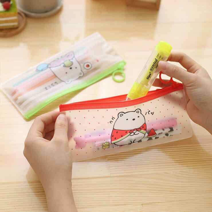 Ellen Brook 1 Piece Korea Stationery Lovely Cute Animals Creative Ring PVC Pencil Bag Translucent School Office Supplies Case