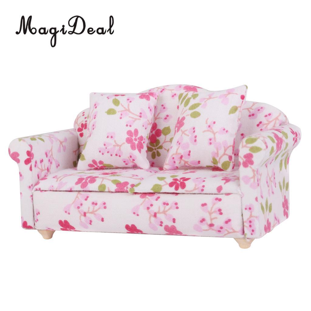 Möbel Spielzeug Pretend Spielen 1 Pc Moderne Puppenhaus Mini Wohnzimmer Lounge Möbel Acc Floral Blume Sofa Couch Sofa Für Puppen Kinder Spielzeug