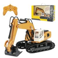 Remote Control Excavator 1:18 Simulation Excavator Model 9 Channel Electric Construction Truck Toy with Light for Children