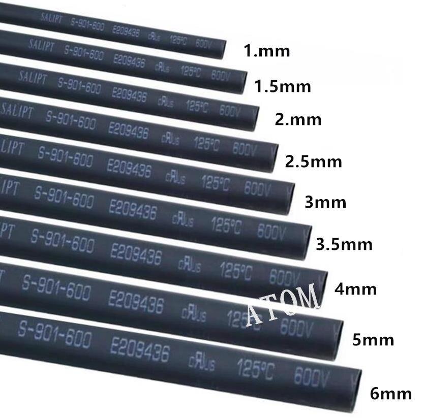 Tubo Termocontraíble Manga Cable Envoltura de cable 1 M x 22 mm negro diámetro interior
