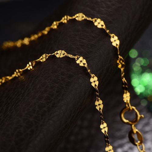 Fine Solid Au750 18K Yellow Gold Women's Four Leaf Clover Link Necklace