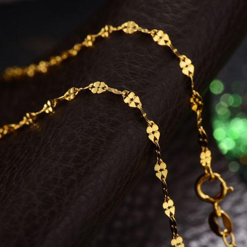 Fine Solid Au750 18K Yellow Gold Womens Four Leaf Clover Link NecklaceFine Solid Au750 18K Yellow Gold Womens Four Leaf Clover Link Necklace
