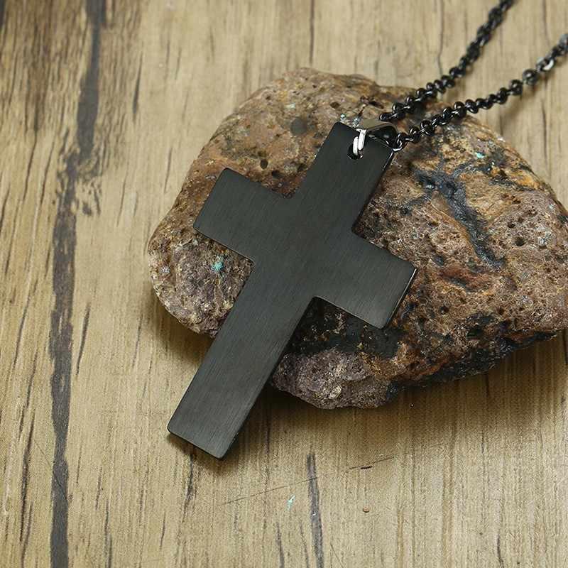 メンズステンレス鋼シンプルな黒クロスペンダント祈りとはりつけクリスチャンネックレス 20 インチ