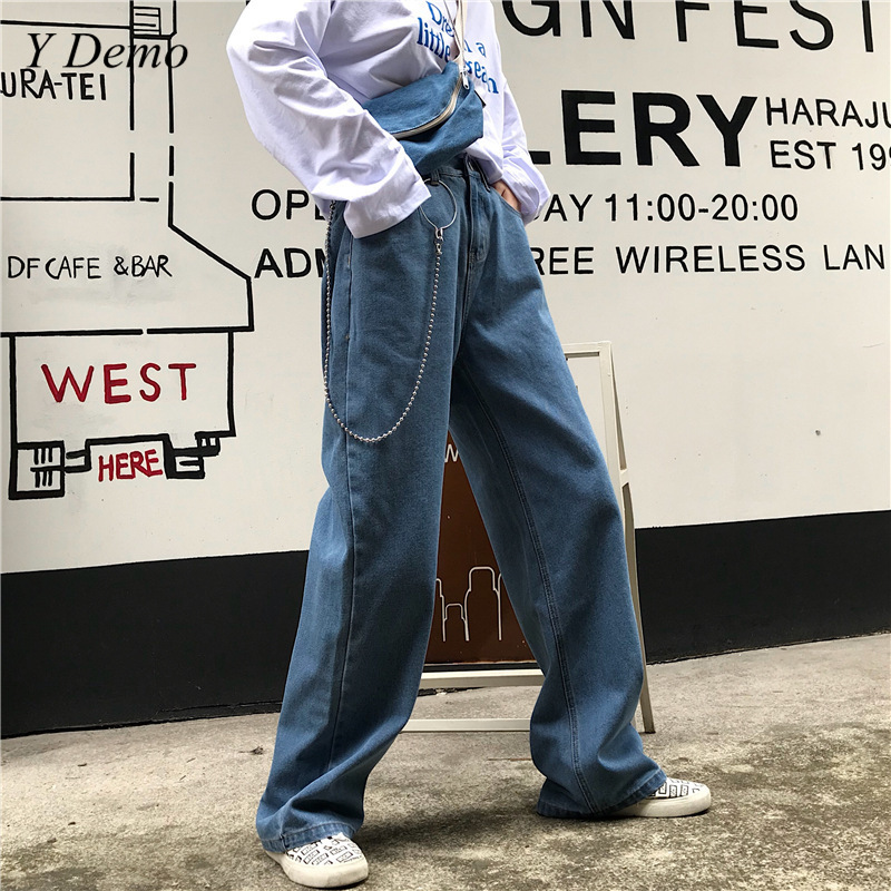 Harajuku Oversized Cotton Women   Wide     Leg     Pants   Loose Lose Vintage 90s Club Denim   Pants