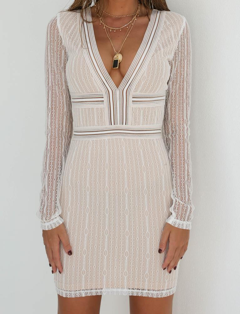 Deep V-Neck Mesh Lace Patchwork Backless Waistless Long Sleeve See-through Bodycon Sexy Up Dress Women Fashion Striped Dress