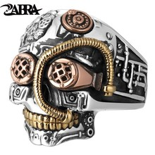 ZABRA Solid 925 srebrny pierścionek z czaszką mężczyźni duży ciężki Vintage Punk Biker pierścionki srebrne dla mężczyzn gotycka biżuteria dla mężczyzn