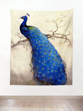 Vintage Style Watercolor Blue Peacock Tapestry Wall Hanging Landscape Boho Decor Retro Wallpaper Art Cloth Macrame