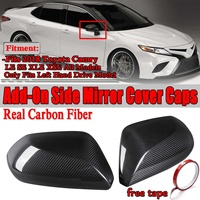 1 Pair Real Carbon Fiber Add On Car Side View Rearview Mirror Cover Caps Trim Sticker Fits For Toyota Camry LE SE XLE XSE 2018