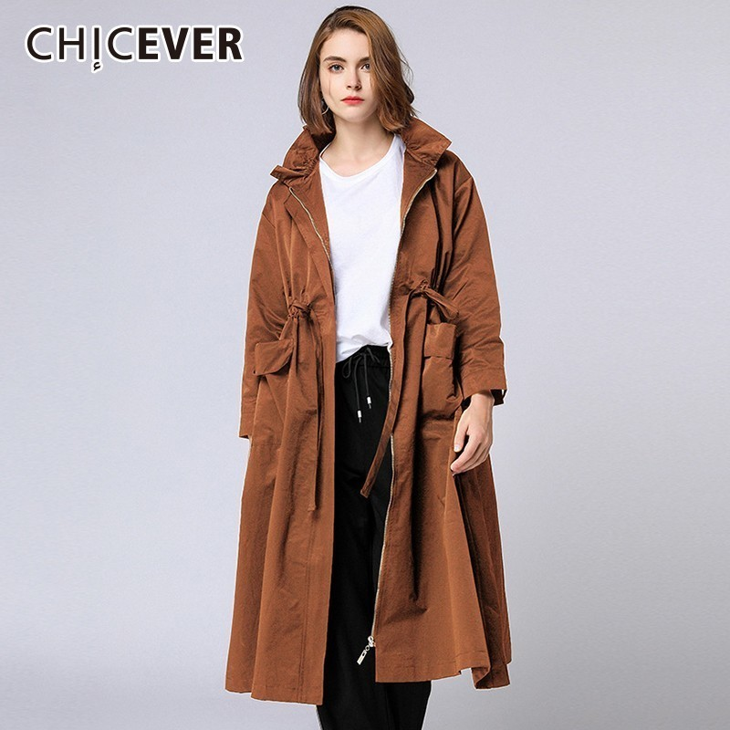 CHICEVER 2018 Autumn Women's Windbreaker   Trench   Coat Female Stand Collar Long Sleeve High Waist Lace Up Zipper Windbreakers
