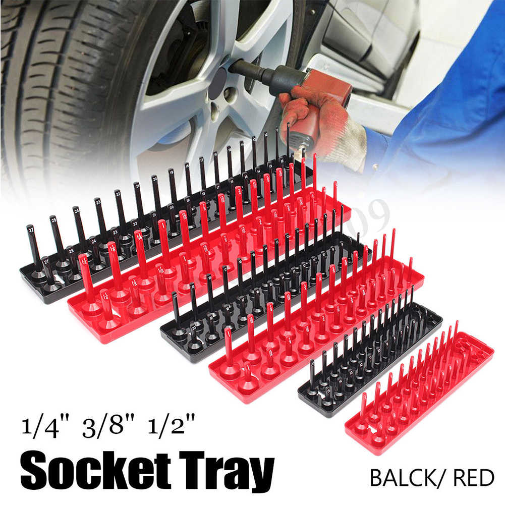 3PCS/Set Garage Storage Tool Rack Holder Home Socket Tray 1/4'' 3/8'' 1/2'' Plastic Organizer Accessories Shelf Stand Metric SAE