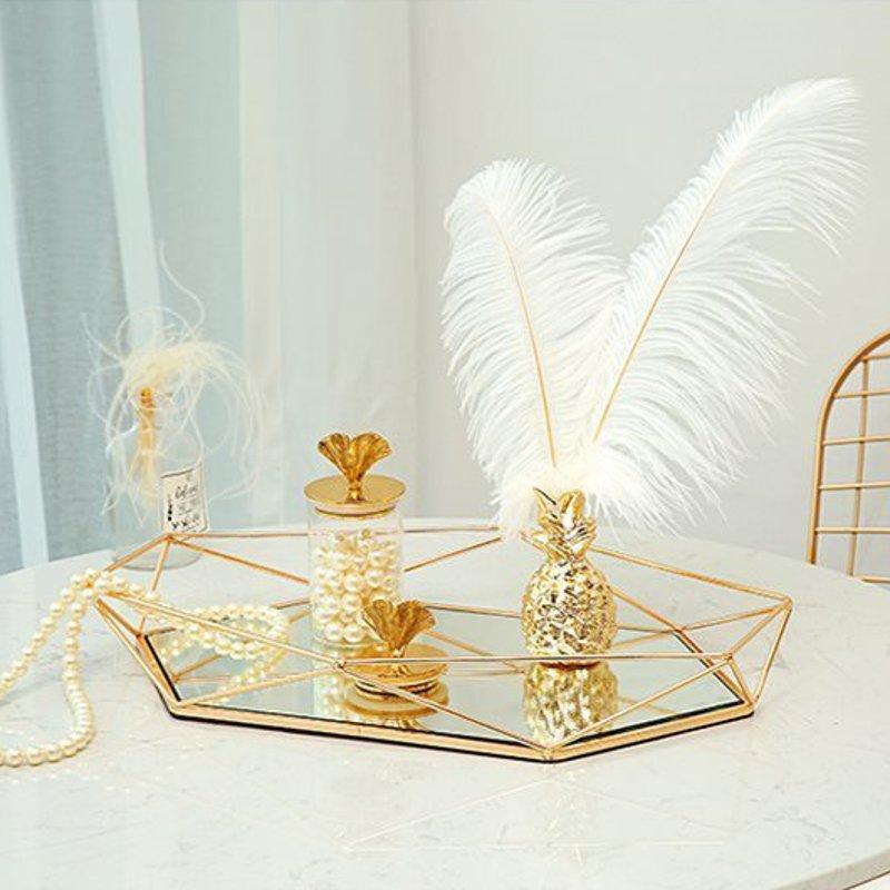 Винтажный Европейский цветной стеклянный металлический поднос для хранения, Золотая овальная точечная Фруктовая тарелка, настольные мелкие предметы, зеркальный дисплей для ювелирных изделий-2