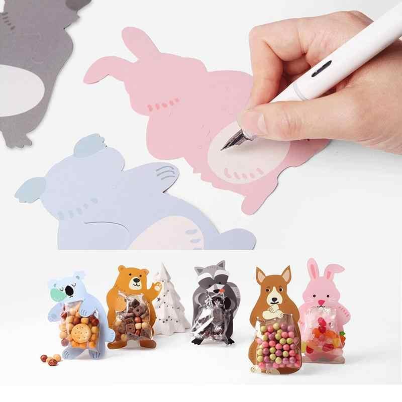 10 pçs/lote bonito animal urso coelho koala doces sacos de cartões de felicitações cookie sacos de presente sacos de chá do bebê festa de aniversário decoração