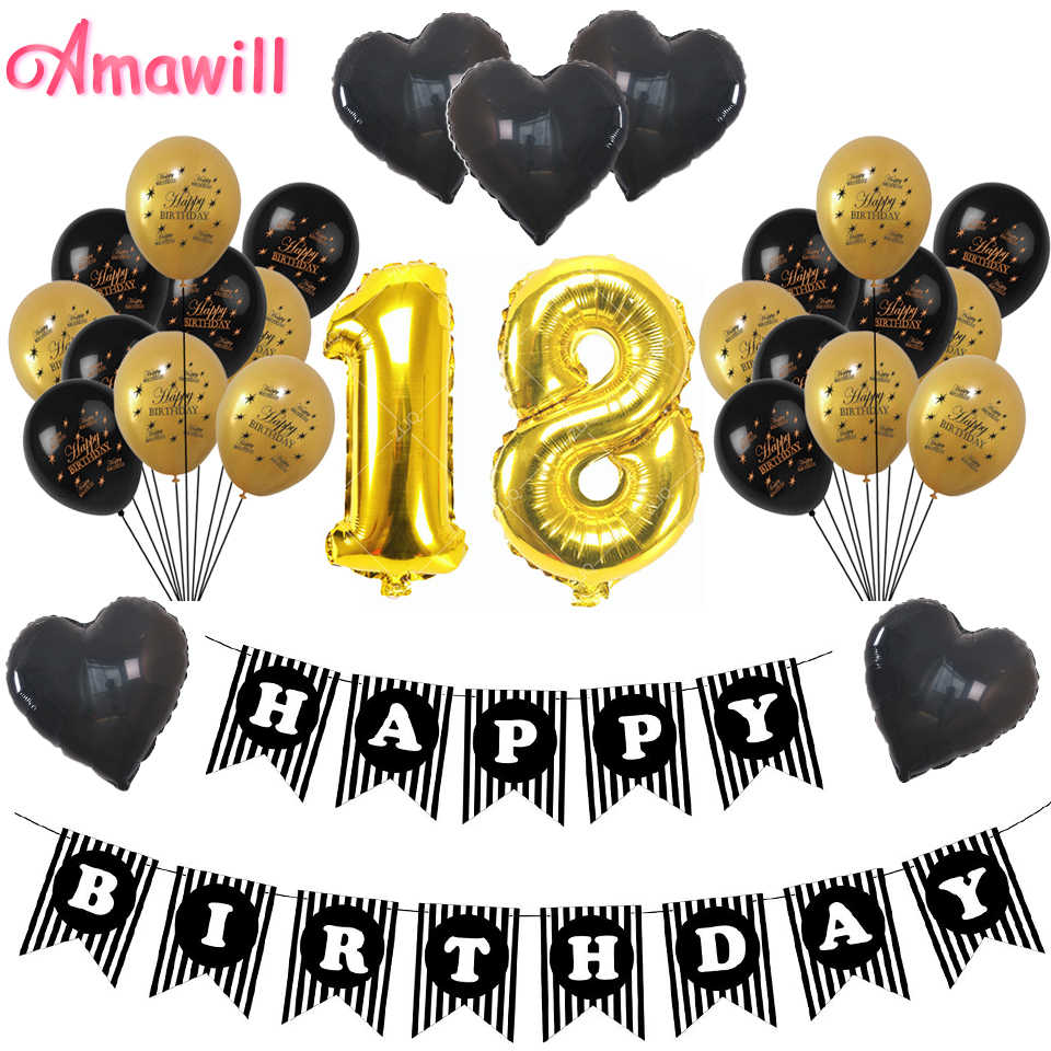 Amawill 18th Birthday Decorations Adult 32inch Gold Number Balloons Black Happy Banner Latex Globos Mylar