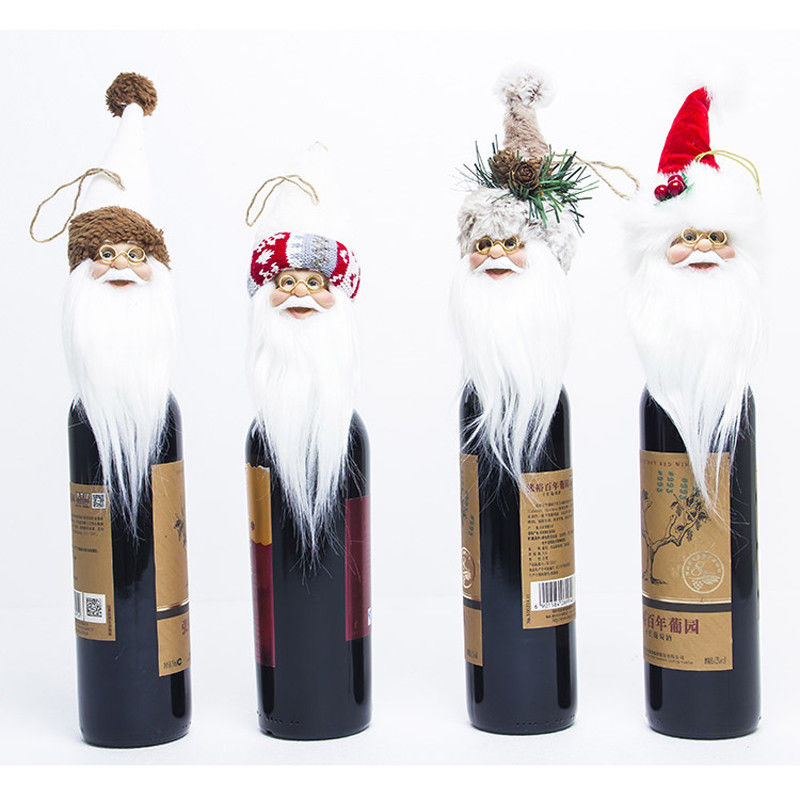 Christmas Toy Santa Claus Stand Long Hat Gnome Plush Doll Handmade Home Decor Wine Bottle Covers