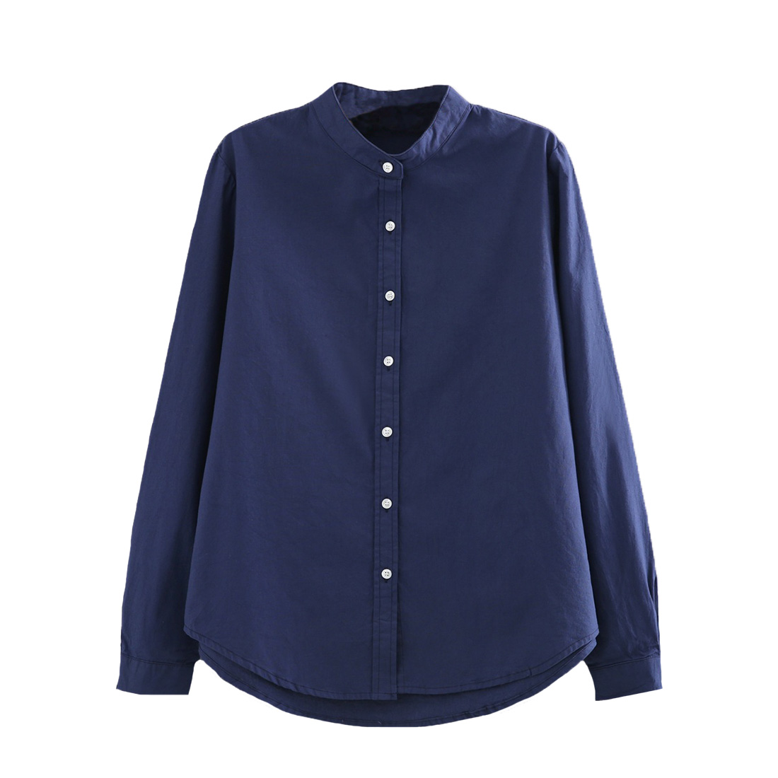 Hot Sell High Quality New Spring Women Ladies Fashion Cotton Linen Long Sleeve Office Ladies Blouse Stand Collar Casual Shirt
