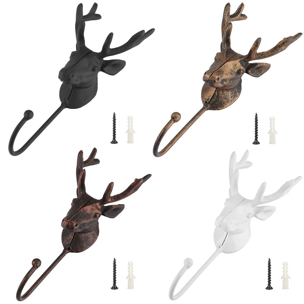 Wall Hanger Deer Antler Style Decor Coat Bag Rack Organizer With Retro Deer Design