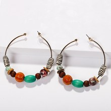 Pink Ethnic Beads Statement Hoop Earrings Women Bohemia Hoop Pendant Earrings Vintage Charms Drop Earrings