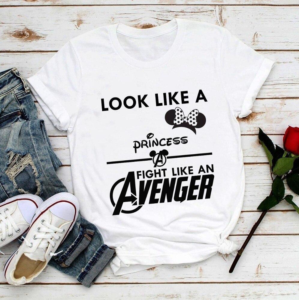 Olhar como uma princesa luta como um vingador camisa engraçada de t mulheres verão novo branco femme casuais orelhas de rato da menina poder anime t-shirt